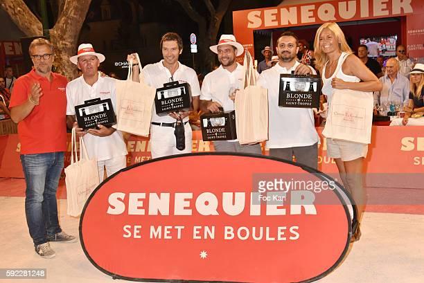 President Thierry Bourdoncle from Senequier petanque champions and Ariane de Senneville attend theTrophee Senequier At Place des Lices on August 19...