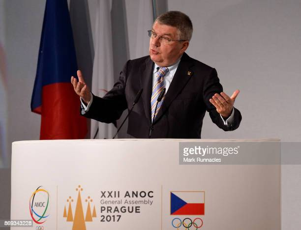President Thomas Bach addresses delegates during Day One of the XXII ANOC General Assembly on November 2 2017 in Prague Czech Republic