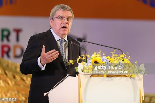 President Thomas Bach addresses during the SportAccord Opening Ceremony at the Royal Thai Navy Convention Hall on April 17 2018 in Bangkok Thailand