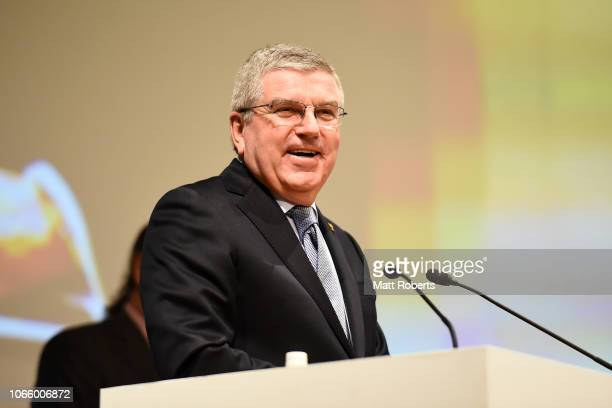 President Thomas Bach addresses during the XXIII ANOC General Assembly Tokyo 2018 on November 28 2018 in Tokyo Japan