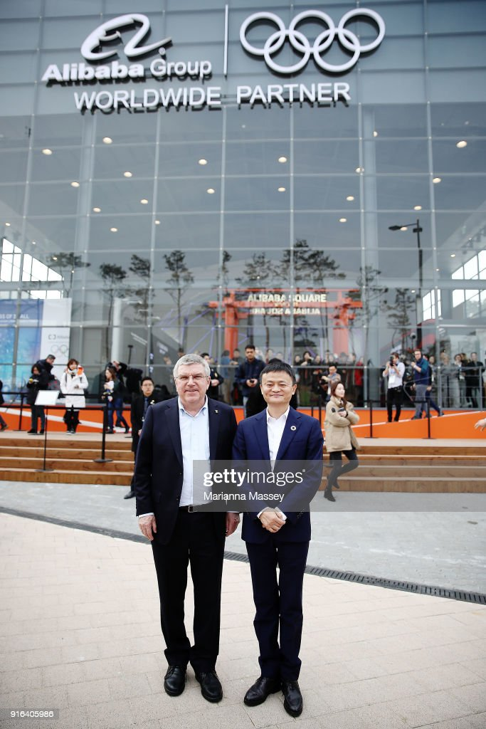 President Thomas Bach and Alibaba Group Executive Chairman Jack Ma pose for a photo in front of the Alibaba Showcase at the PyeongChang 2018 Winter Olympic Games on February 10, 2018 in Gangneung, South Korea.