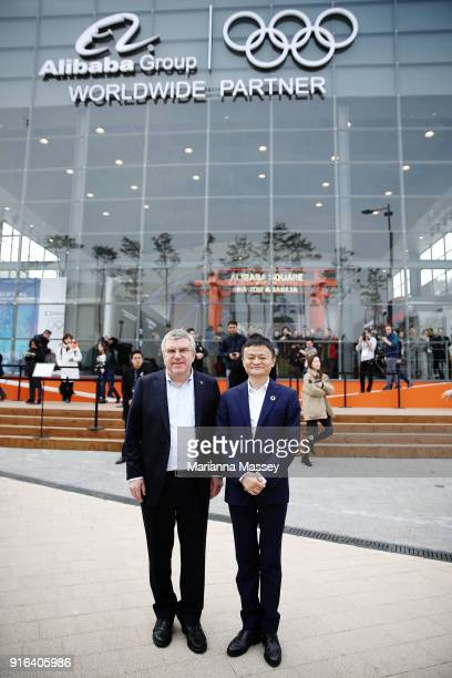 President Thomas Bach and Alibaba Group Executive Chairman Jack Ma pose for a photo in front of the Alibaba Showcase at the PyeongChang 2018 Winter...