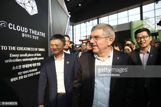 President Thomas Bach and Alibaba Group Executive Chairman Jack Ma tours the Alibaba Showcase at the PyeongChang 2018 Winter Olympic Games on...