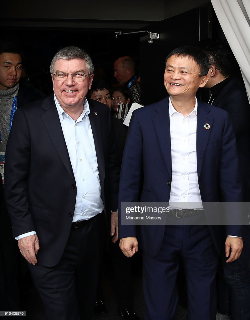 President Thomas Bach and Alibaba Group Executive Chairman Jack Ma tour the Alibaba Showcase at the PyeongChang 2018 Winter Olympic Games on February 10, 2018 in Gangneung, South Korea.