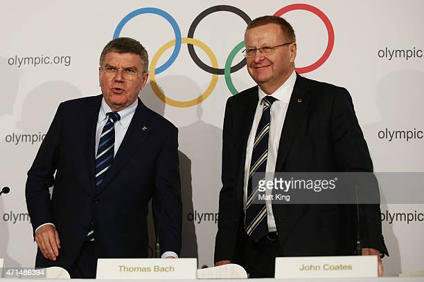 President Thomas Bach and AOC President John Coates arrive at a press conference at the Museum of Contemporary Art on April 29, 2015 in Sydney,...