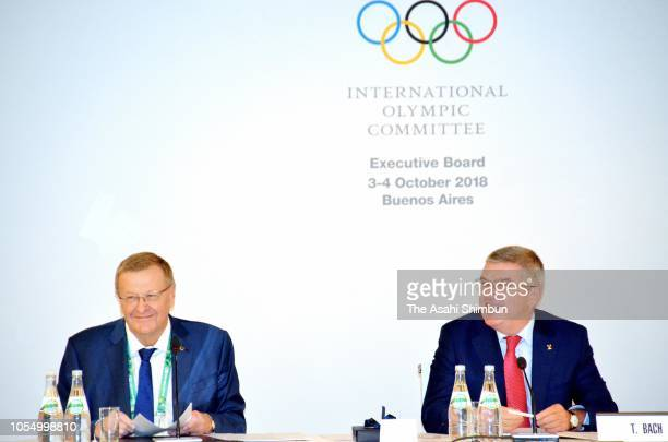 IOC President Thomas Bach and Coordination Commission for Tokyo 2020 John Coates attend the IOC Executive Board Meeting on October 4 2018 in Buenos...