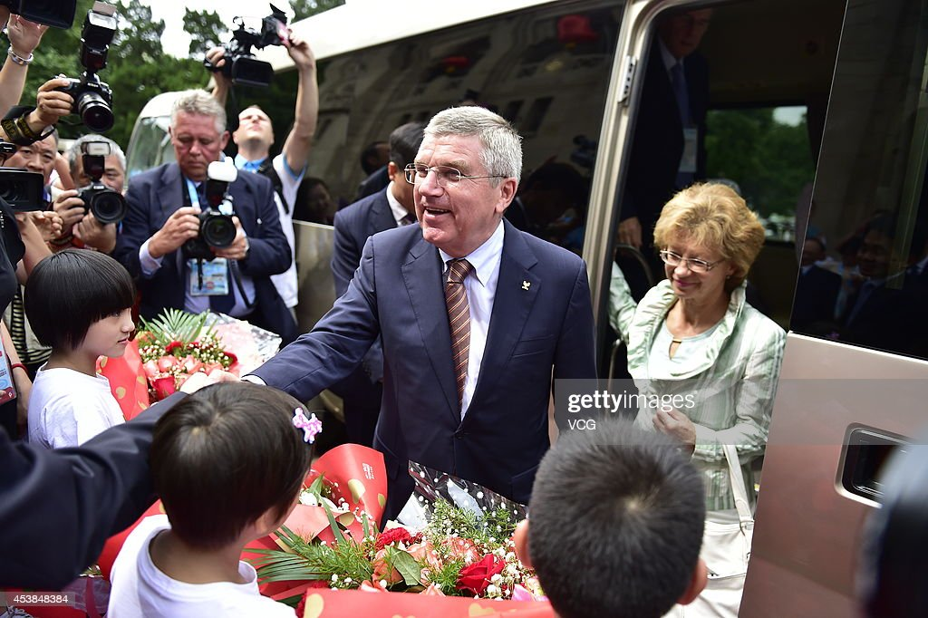 IOC President Thomas Bach and his wife Claudia Bach visit the Nanjing Sport Institute on day three of the Nanjing 2014 Summer Youth Olympic Games on August 19, 2014 in Nanjing, China.