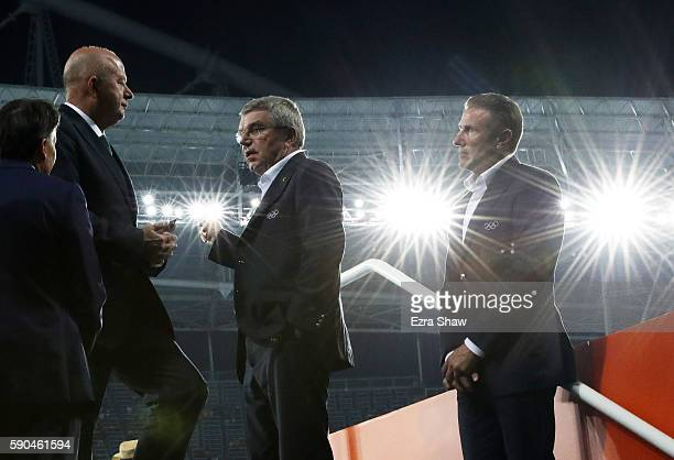 President Thomas Bach and IAAF Vice President Sergey Bubka attend the Athletics events on Day 11 of the Rio 2016 Olympic Games at the Olympic Stadium...