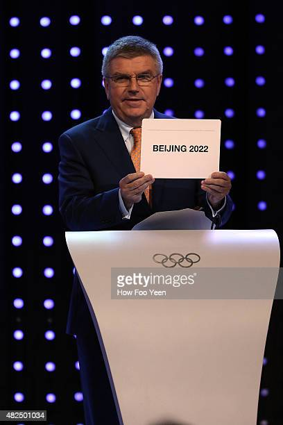 President Thomas Bach announces Beijing, China as the host city for the 2022 Winter Olympics during the Announcement Ceremony at the 128th IOC...