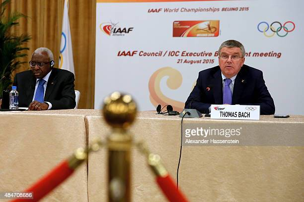 President Thomas Bach attends a press conference with IAAF President Lamine Diack after the IAAF Council and IOC Executive Board meeting at...