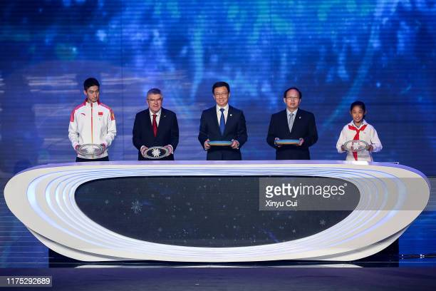 President Thomas Bach attends the launch ceremony as mascots of the 2022 Olympic and Paralympic Winter Games, Bing Dwen Dwen and Shuey Rhon Rhon are...