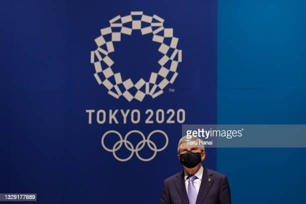 President Thomas Bach attends the press conference after the IOC Executive Board meeting on July 17, 2021 in Tokyo, Japan.