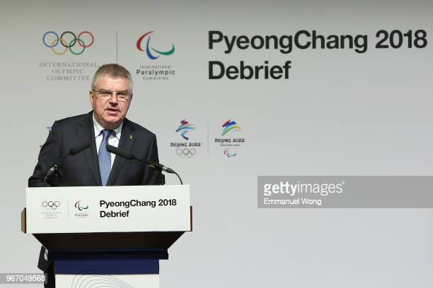 President Thomas Bach attends the PyeongChang 2018 Debrief on June 4 2018 in Beijing China