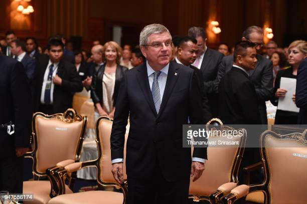 President Thomas Bach attends the SportAccord Opening Ceremony at the Royal Thai Navy Convention Hall on April 17 2018 in Bangkok Thailand