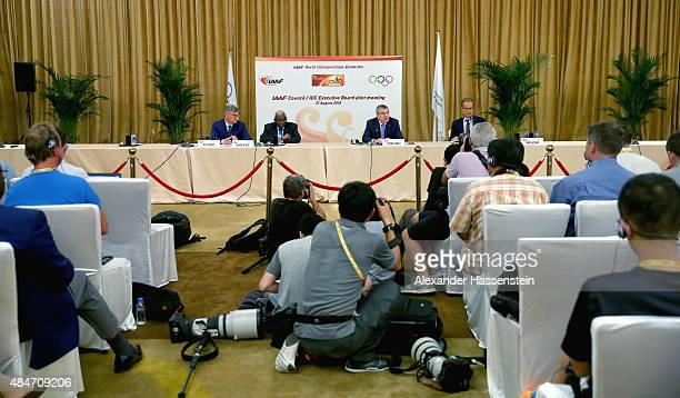 President Thomas Bach attends with IAAF President Lamine Diack a press conference after the IAAF Council and IOC Executive Board meeting at...