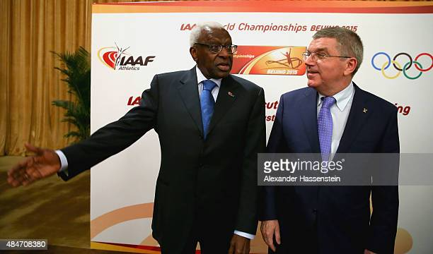 President Thomas Bach attends with IAAF President Lamine Diack the IAAF Council and IOC Executive Board meeting at Intercontinental Beijing Beichen...