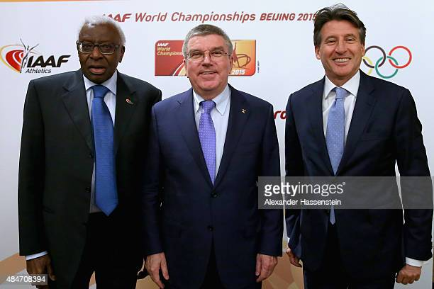President Thomas Bach attends with Lord Sebastian Coe and IAAF President Lamine Diack the IAAF Council and IOC Executive Board meeting at...