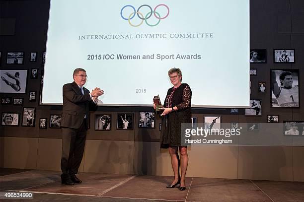 President Thomas Bach awards New Zealand Olympic Committee General Secretary Kereyn Smith with the IOC International Women In Sport World trophy...