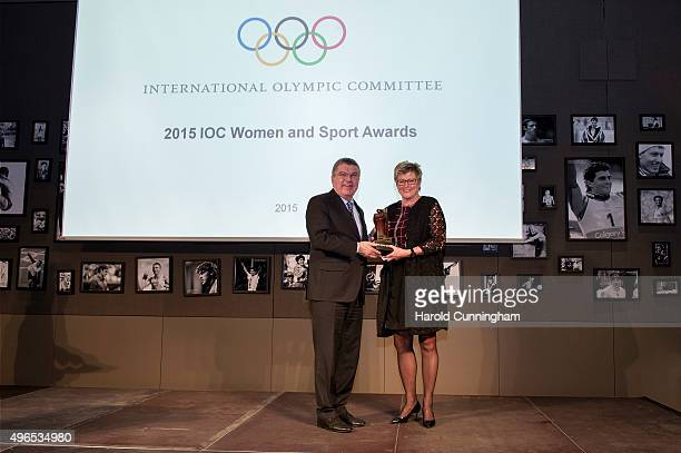 President Thomas Bach awards New Zealand Olympic Committee Secretary General Kereyn Smith during the International Women In Sport Award at the...