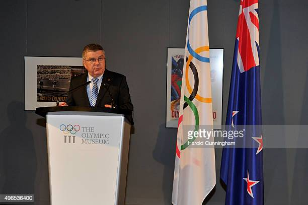 President Thomas Bach deilvers a speech during Sarah Walker Peak tracksuit Olympic Museum donation as part of the the International Women In Sport...