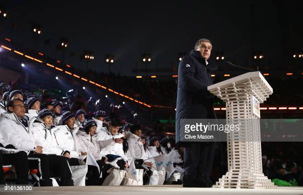President Thomas Bach delivers an address during the Opening Ceremony of the PyeongChang 2018 Winter Olympic Games at PyeongChang Olympic Stadium on...