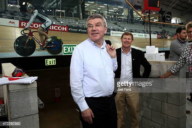 President Thomas Bach during a visit to the Avantidrome on May 6 2015 in Cambridge New Zealand