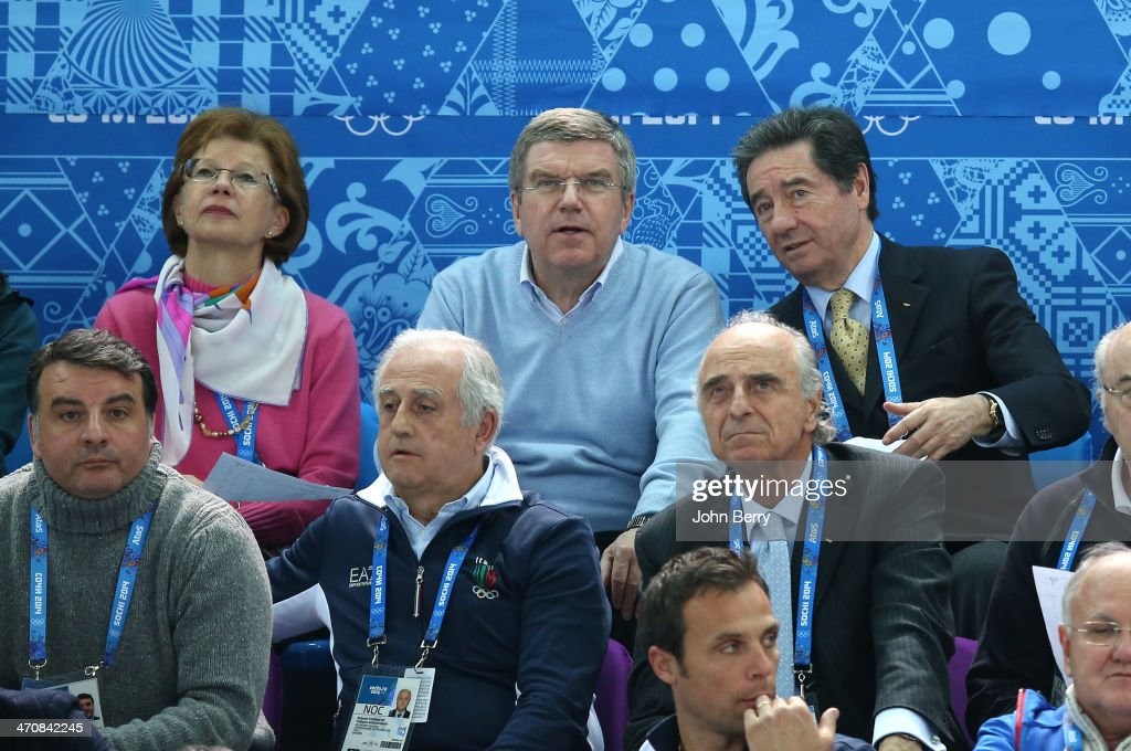 IOC President Thomas Bach, his wife Claudia Bach and President of the International Skating Union, Ottavio Cinquanta attend the Figure Skating Ladies' Free Skating on day 13 of the Sochi 2014 Winter Olympics at Iceberg Skating Palace on February 20, 2014 in Sochi, Russia.