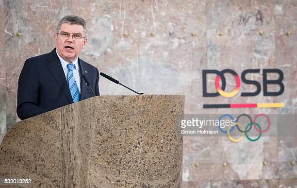 President Thomas Bach holds a speech during the 10 Years of DOSB Ceremonial Act at Paulskirche on May 20 2016 in Frankfurt am Main Germany