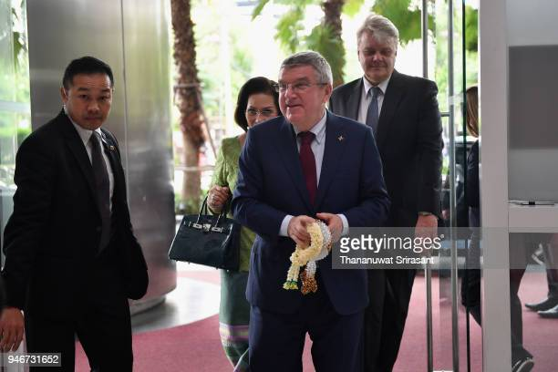 President Thomas Bach is seen on arrival during day two of the SportAccord at Centara Grand Bangkok Convention Centre on April 16 2018 in Bangkok...