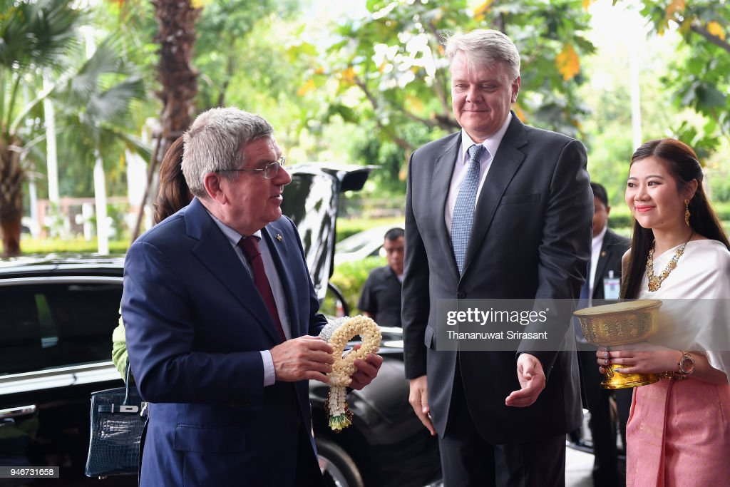 President Thomas Bach is welcomed on arrival during day two of the SportAccord at Centara Grand & Bangkok Convention Centre on April 16, 2018 in Bangkok, Thailand.