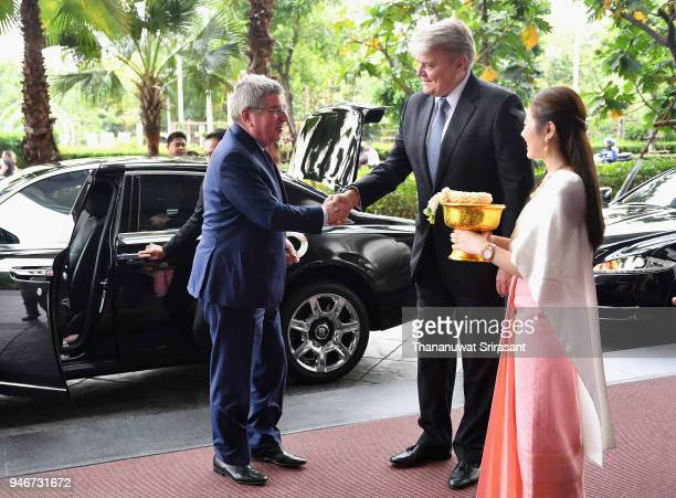President Thomas Bach is welcomed on arrival during day two of the SportAccord at Centara Grand Bangkok Convention Centre on April 16 2018 in Bangkok...
