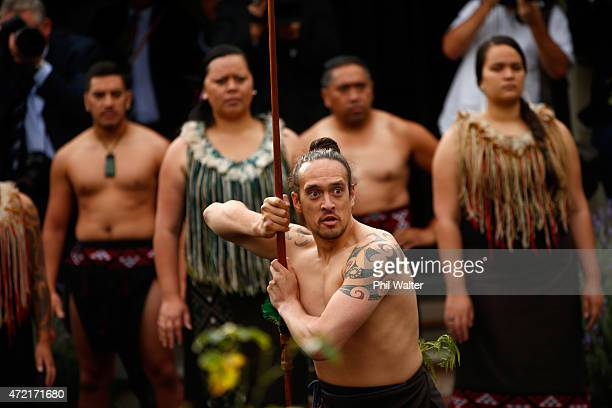 President Thomas Bach is welcomed to Olympic House with a traditional Maori cultural welcome during a Powhiri before the official opening of Olympic...