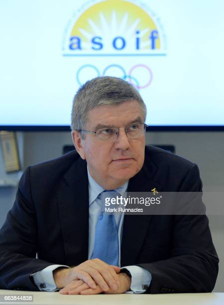 President Thomas Bach joins the ASOIF council meeting during the first day of SportAccord Convention 2017 at the Scandinavian Centre on April 2 2017...