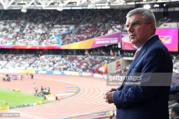 President Thomas Bach looks on during day one of the 16th IAAF World Athletics Championships London 2017 at The London Stadium on August 4 2017 in...