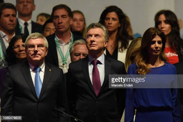 IOC President Thomas Bach Mauricio Macri president of Argentina and Argentina First Lady Juliana Awada look on during the opening ceremony of the...