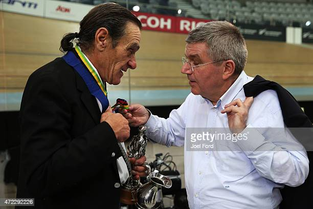 President Thomas Bach meets Harry Kent winner of New Zealand's first track cycling medals during a visit to the Avantidrome on May 6 2015 in...