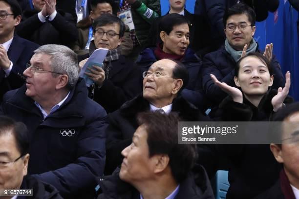 IOC President Thomas Bach North Korean ceremonial head of state Kim Yong Nam and Kim Yojong sister of North Korean leader Kim Jongun attend the...