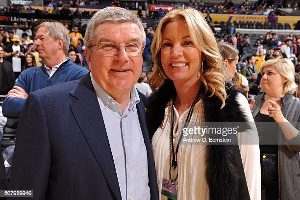 President Thomas Bach poses for a photo with Los Angeles Lakers part owner Jeanie Buss before the Charlotte Hornets game at STAPLES Center on January...