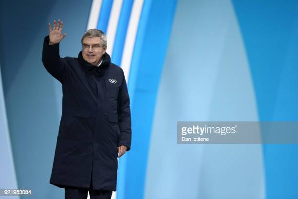 President Thomas Bach presents the medals for the Ladies' Downhill on day twelve of the PyeongChang 2018 Winter Olympic Games at Medal Plaza on...