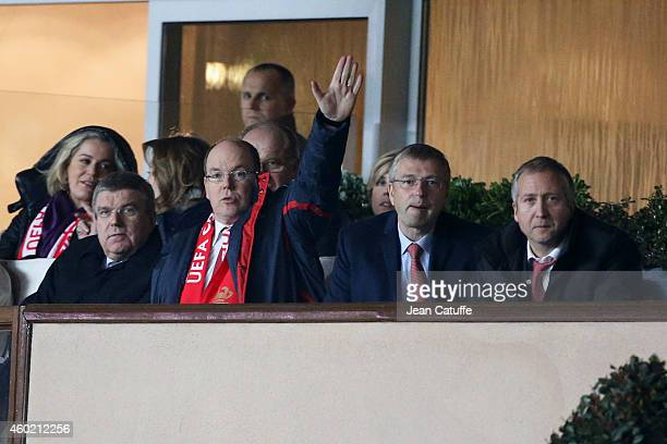 President Thomas Bach Prince Albert II of Monaco AS Monaco President Dmitri Rybolovlev and AS Monaco vicePresident Vadim Vasilyev attend the UEFA...
