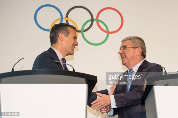 President Thomas Bach shakes hands with Mayor of Los Angeles Eric Garcetti on July 10 2017 in Lausanne Switzerland
