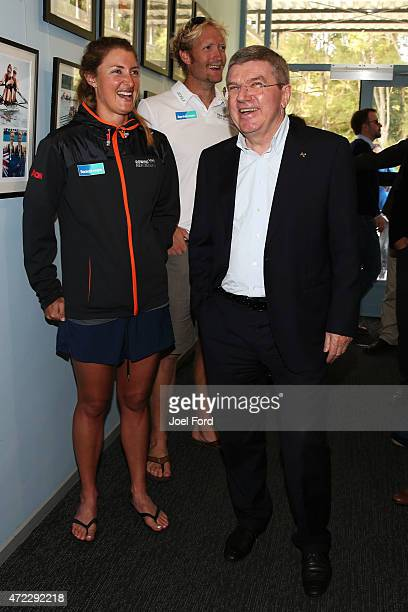 President Thomas Bach shares a laugh with New Zealand rowers Rebecca Scown and Eric Murray during a visit to the New Zealand Rowing High Performance...