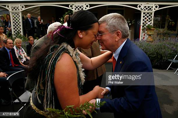 President Thomas Bach shares a traditional maori greeting of a hongi with Nettie Norman during a Powhiri and the official opening of Olympic House on...
