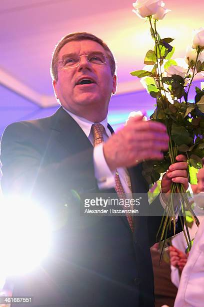 President Thomas Bach smiles during his 60th Birthday party at Stadthalle on January 10 2014 in Tauberbischofsheim Germany