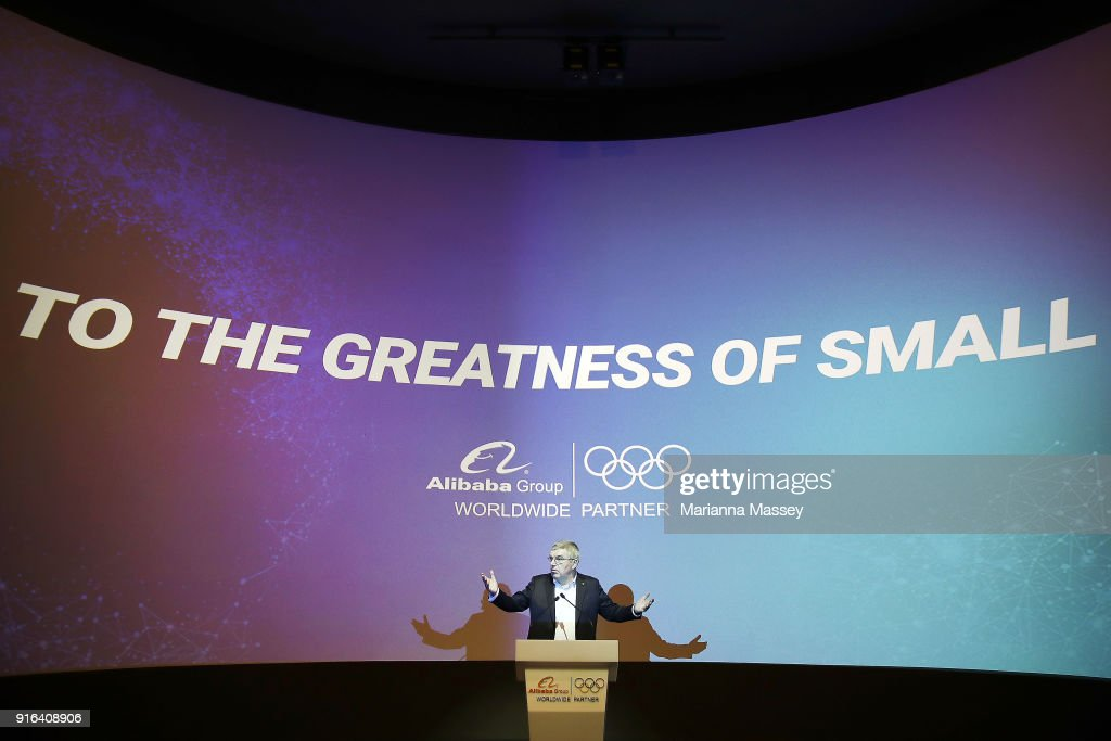 President Thomas Bach speaks at the unveiling of the Alibaba Showcase at the PyeongChang 2018 Winter Olympic Games on February 10, 2018 in Gangneung, South Korea.