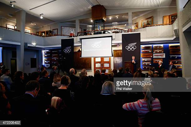 President Thomas Bach speaks during a National Federations Sport Forum Agenda 2020 meeting at the Royal New Zealand Yacht Squadron on May 5 2015 in...