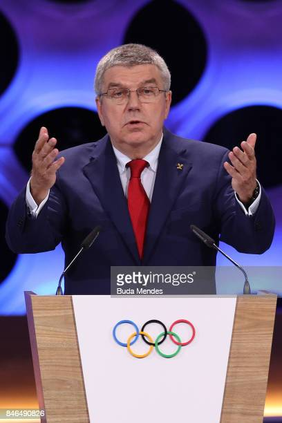 President Thomas Bach speaks during the 131th IOC Session - 2024 & 2028 Olympics Hosts Announcement at Lima Convention Centre on September 13, 2017...