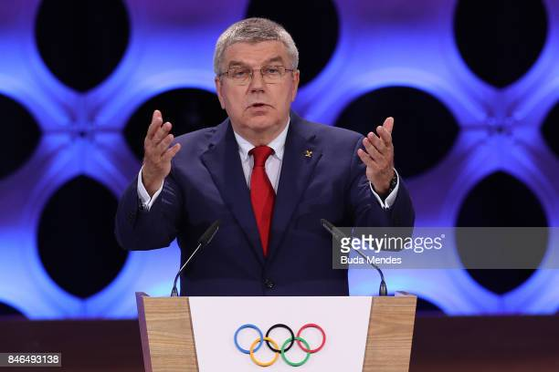 President Thomas Bach speaks during the 131th IOC Session 2024 2028 Olympics Hosts Announcement at Lima Convention Centre on September 13 2017 in...
