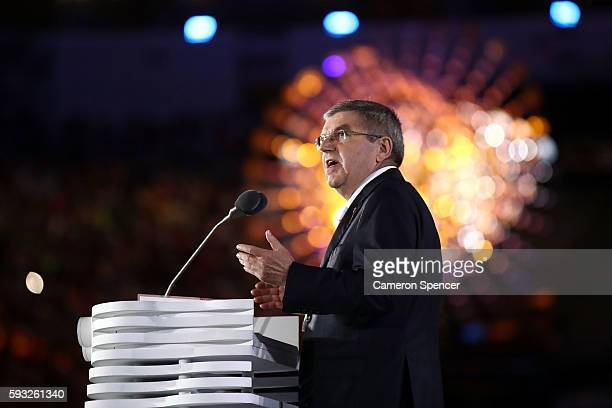 President Thomas Bach speaks during the Closing Ceremony on Day 16 of the Rio 2016 Olympic Games at Maracana Stadium on August 21 2016 in Rio de...