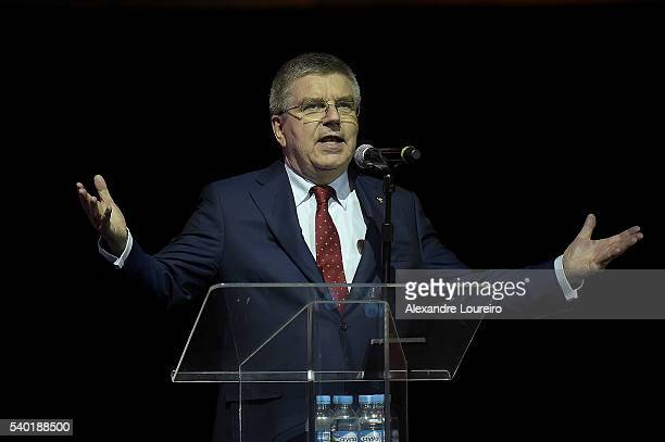 President Thomas Bach speaks during the Launch of Medals and Victory Ceremonies for the Rio 2016 Olympic and Paralympic Games at the Future Arena in...
